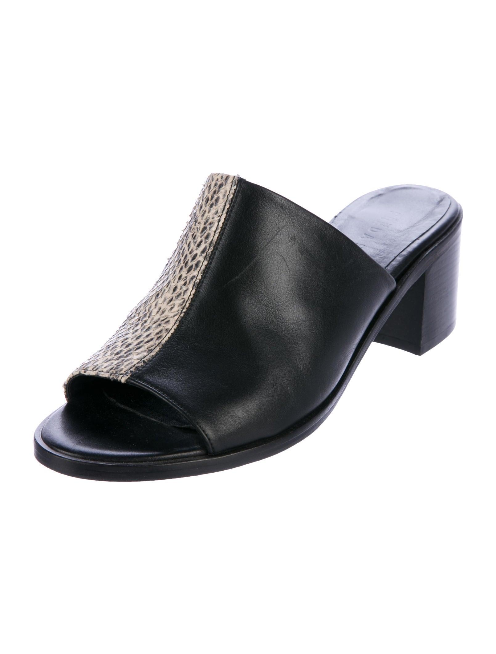 Freda Salvador Embossed Leather Slide Sandals cheap order 6IYdR8