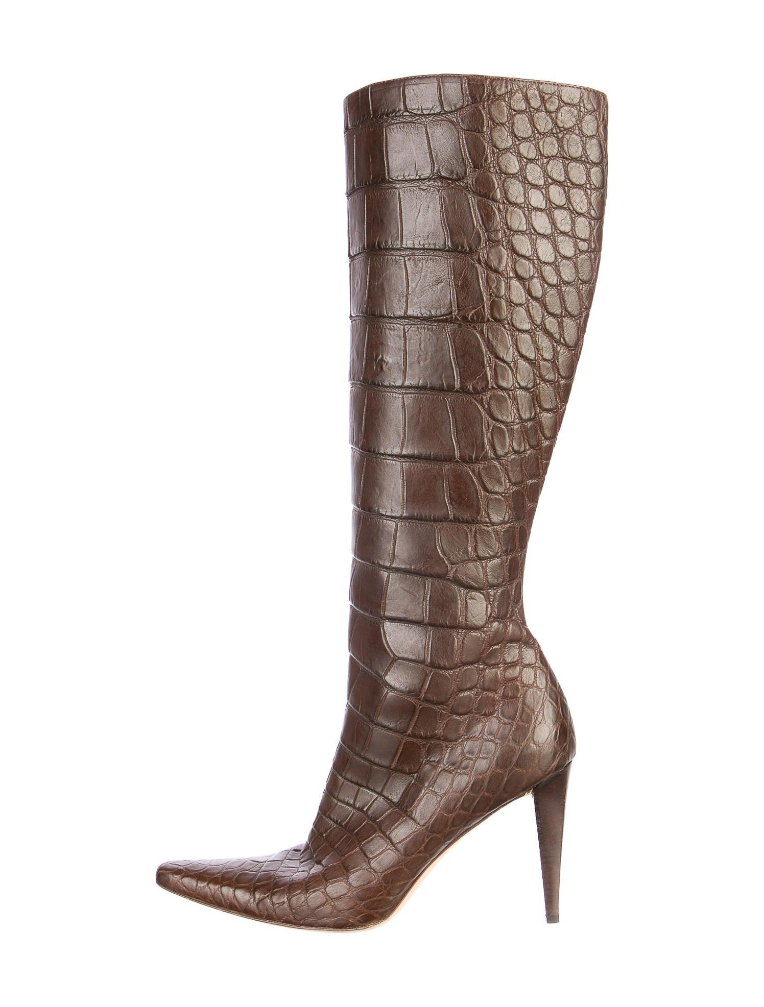 Ralph Lauren Alligator Knee High Boots Shoes Wyg20054