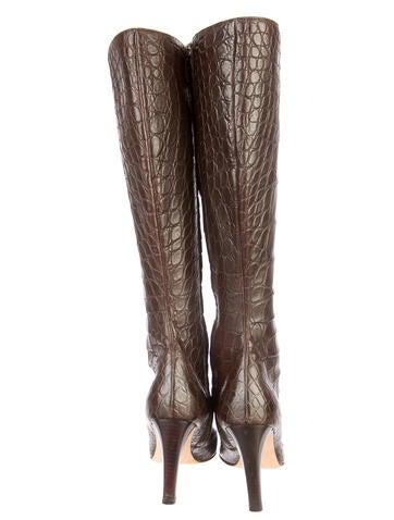 Alligator Knee-High Boots