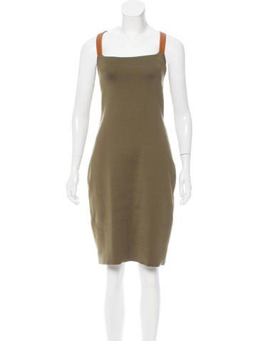 Ralph Lauren Silk & Leather-Trimmed Midi Dress None