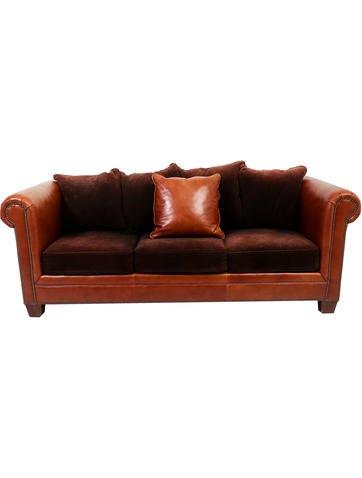 Ralph Lauren Leather & Corduroy Sofa None