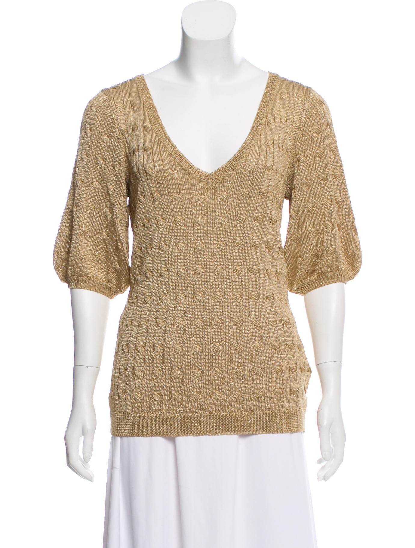 Ralph Lauren Cable Knit V Neck Sweater Clothing Wyg31525 The