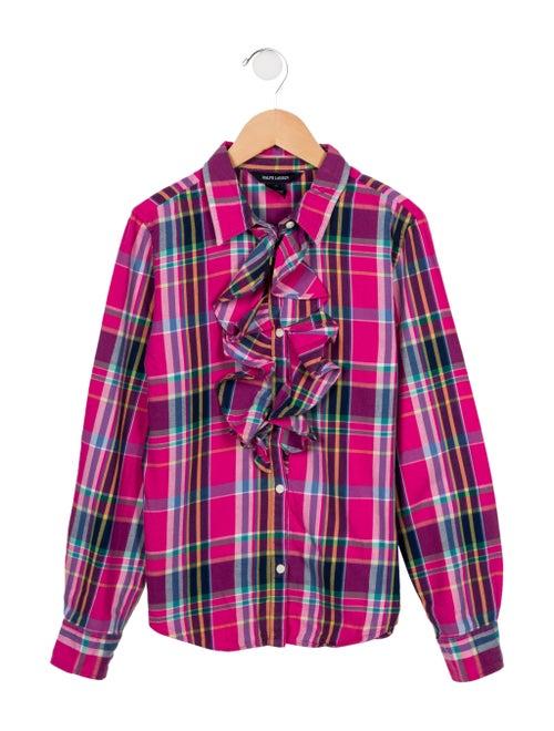 56b246603 Ralph Lauren Girls' Plaid Ruffle-Trimmed Top - Girls - WYG37748 ...