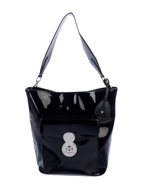 Ralph Lauren Patent Ricky Bucket Bag Black