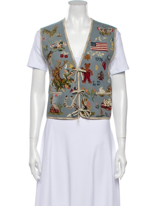 Ralph Lauren Vintage Needlepoint Vest Printed Vest