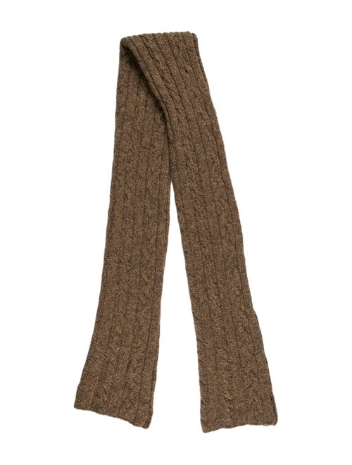 Ralph Lauren Wool & Silk Cable Knit Scarf Brown