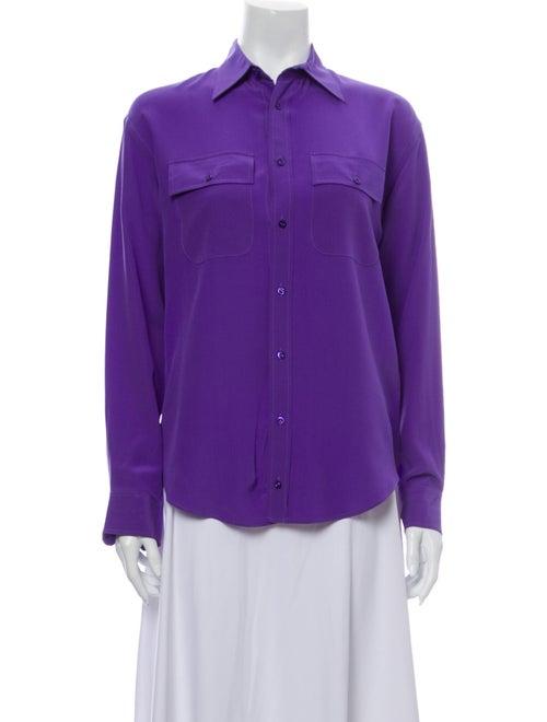 Ralph Lauren Silk Long Sleeve Button-Up Top Purple