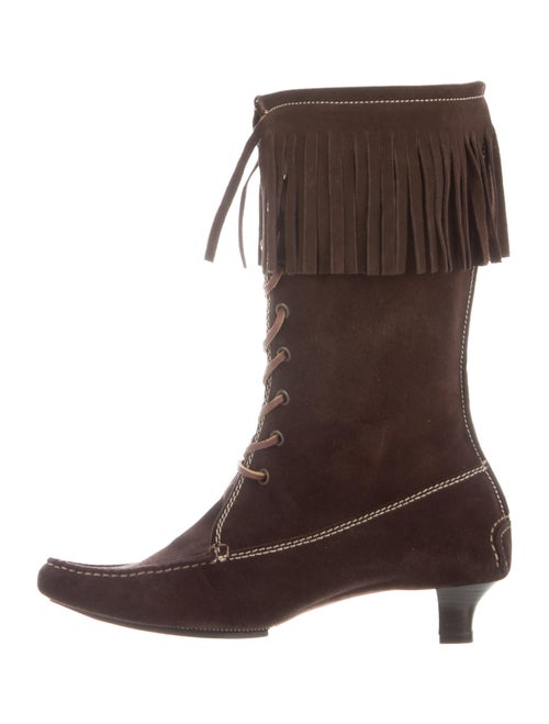 Ralph Lauren Suede Fringe Trim Accent Boots Brown