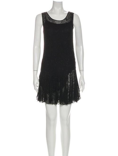 Ralph Lauren Scoop Neck Mini Dress Black