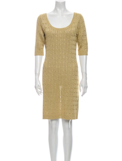 Ralph Lauren Scoop Neck Mini Dress Metallic