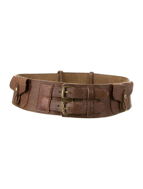 Ralph Lauren Distressed Waist Belt Brown