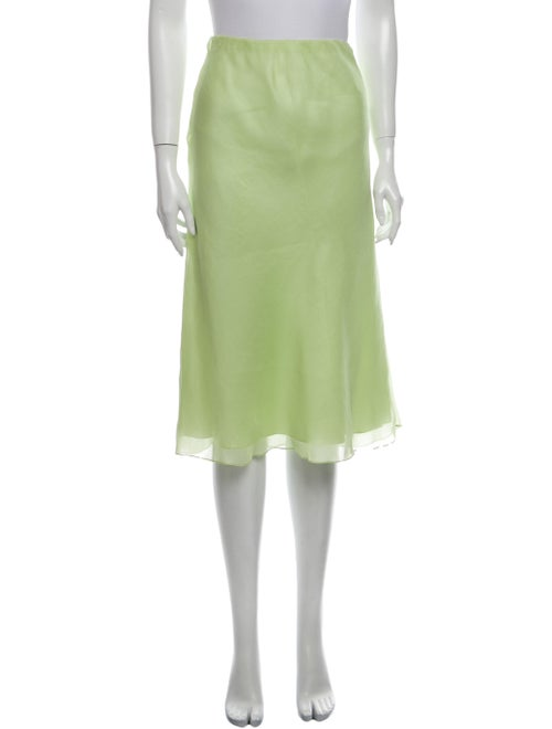 Ralph Lauren Silk Knee-Length Skirt Green