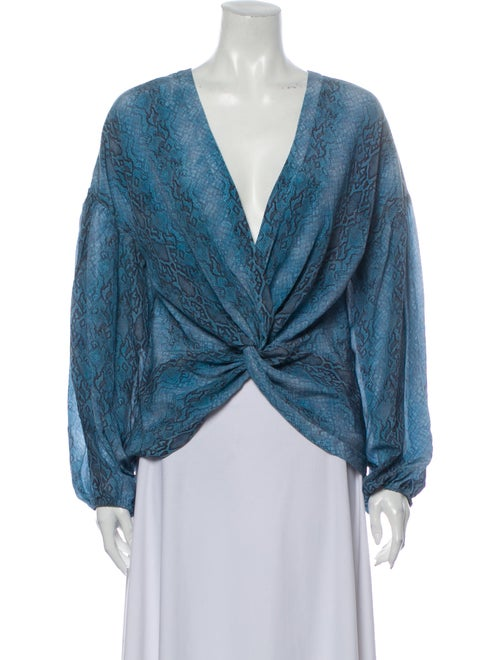 Ramy Brook Silk Animal Print Blouse Blue