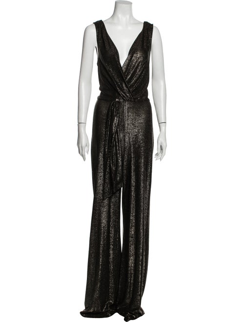 Ramy Brook Plunge Neckline Jumpsuit Metallic