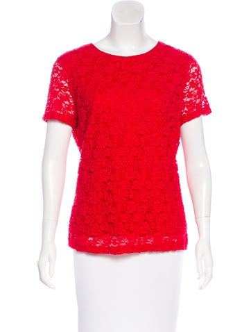 Calvin Klein Short Sleeve Lace Top None