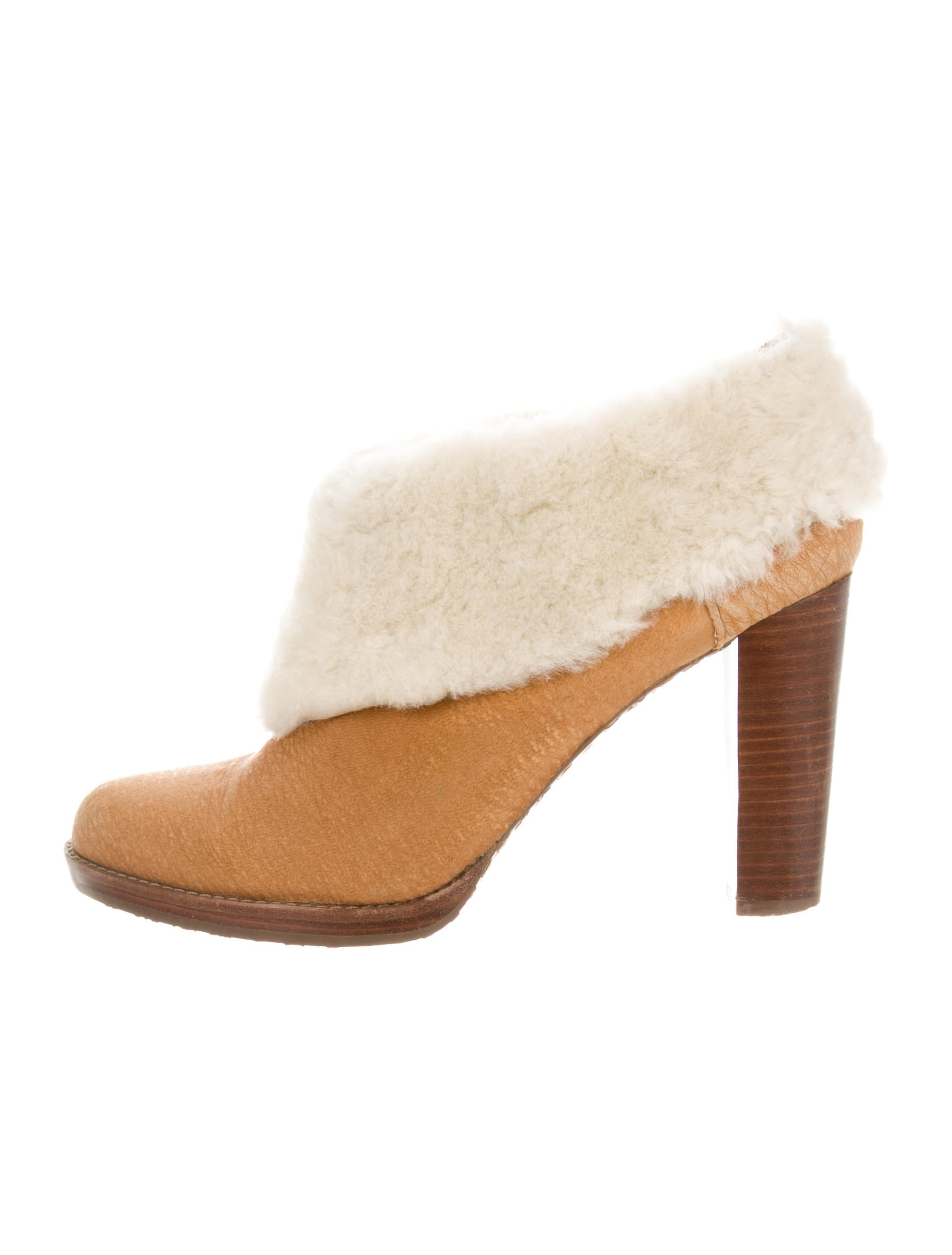 Calvin Klein Sherpa-Trimmed Suede Booties where can you find J0LFYpO