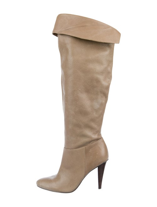 Calvin Klein Leather Knee-High Boots Beige