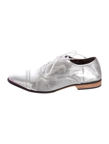 Metallic Leather Oxfords w/ Tags
