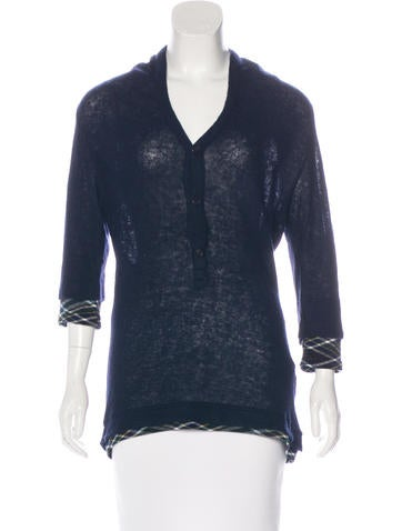 Y's Yohji Yamamoto Plaid-Trimmed Wool-Blend Sweater None