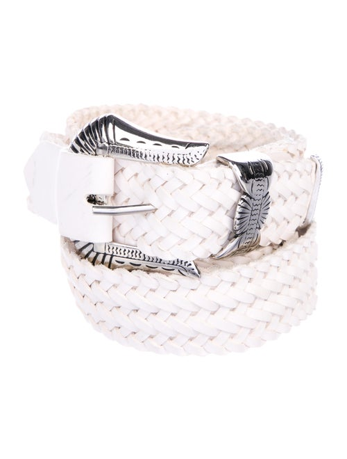 Y/Project Leather Woven Belt silver
