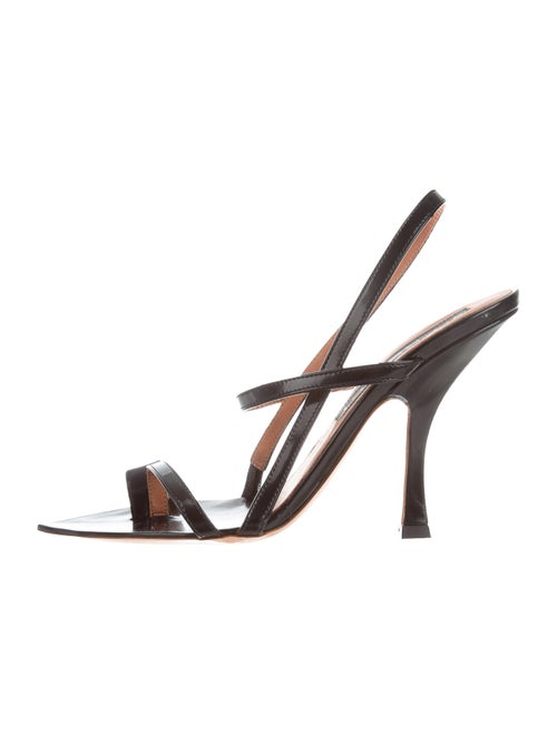 Y/Project Leather Slingback Sandals Black