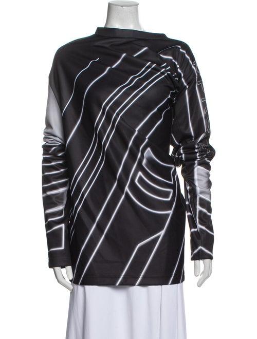 Y/Project Striped Mock Neck Tunic Black