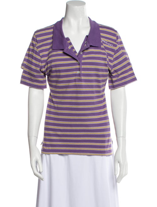 Y/Project Striped Short Sleeve Polo Purple - image 1