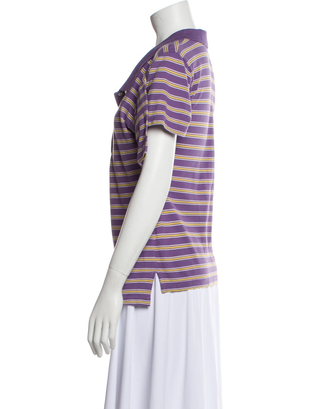 Y/Project Striped Short Sleeve Polo Purple - image 2