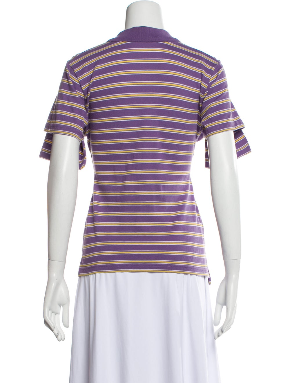 Y/Project Striped Short Sleeve Polo Purple - image 3