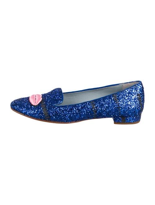 Chiara Ferragni Glitter Pointed-Toe Loafers Navy