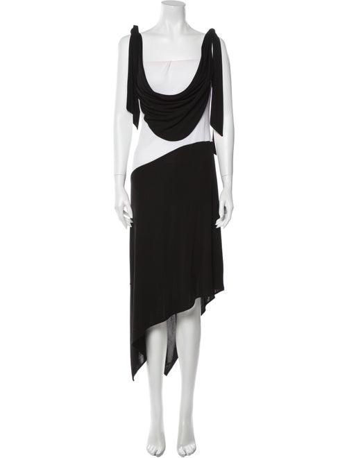 Y Yigal Colorblock Pattern Long Dress Black