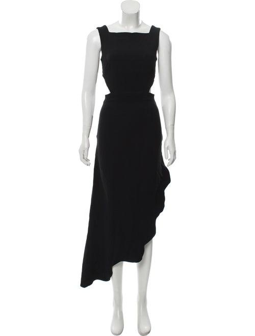 Osman Asymmetric Scallop Dress Black