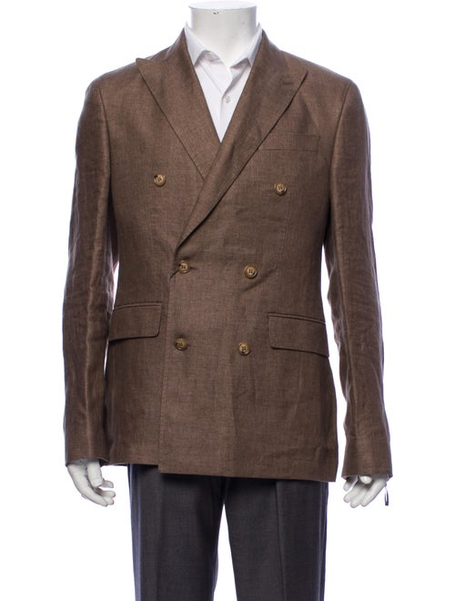 Sand Linen Double-Breasted Blazer w/ Tags brown