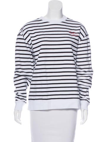 Être Cécile Striped Embroidered Sweatshirt None