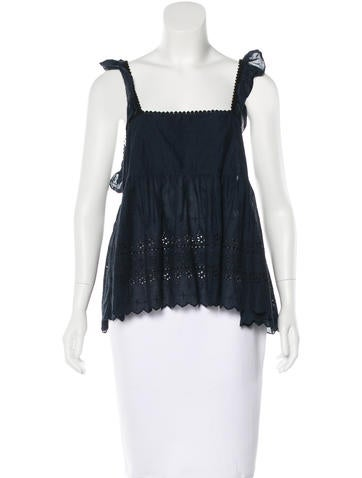 Ganni Embroidered Sleeveless Top w/ Tags