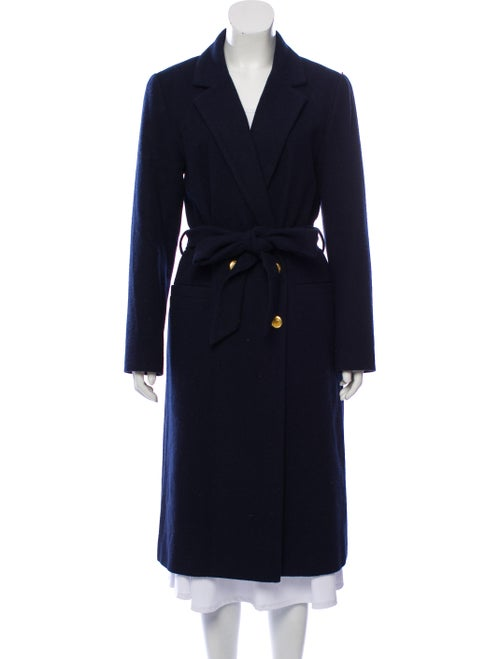 Ganni Wool-Blend Long Coat Navy