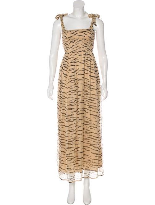 Ganni Printed Maxi Dress Tan