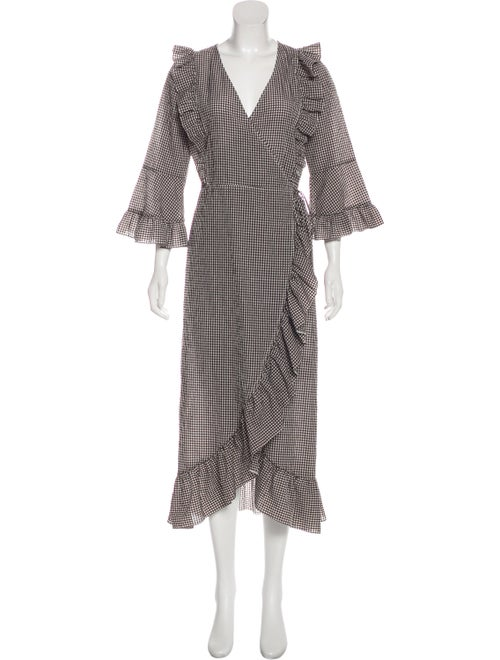 Ganni Gingham Maxi Dress Brown