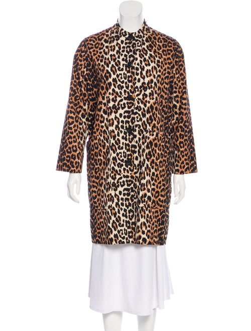 Ganni Animal Print Faux Fur Coat Brown
