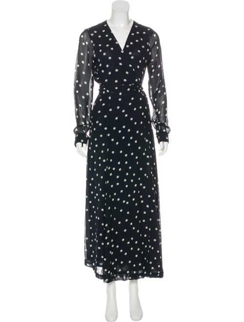Ganni Polka Dot Print Long Dress Blue