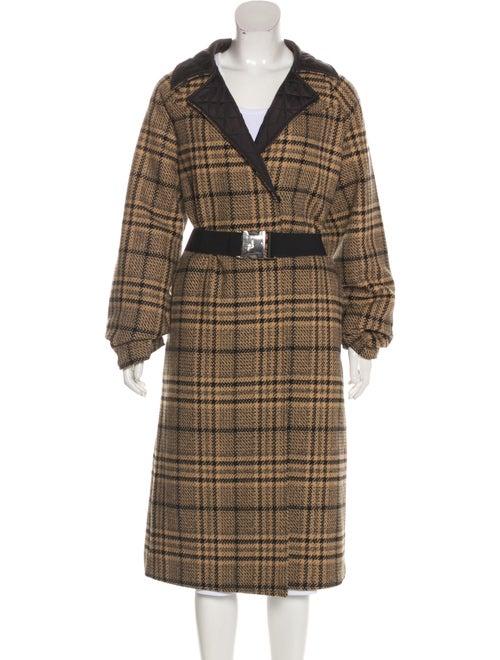 Ganni Wool Plaid Print Coat Wool