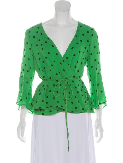 Ganni Polka Dot Print Plunge Neckline Blouse Green