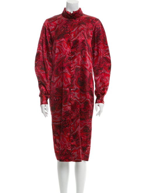 Ganni Animal Print Midi Length Dress Red