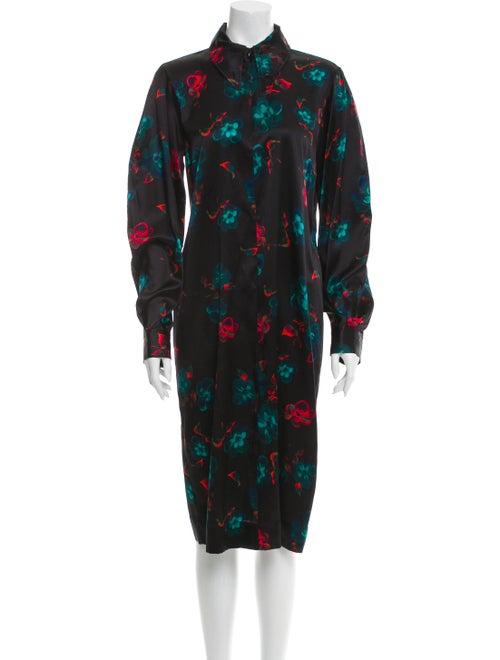 Ganni Silk Midi Length Dress Green