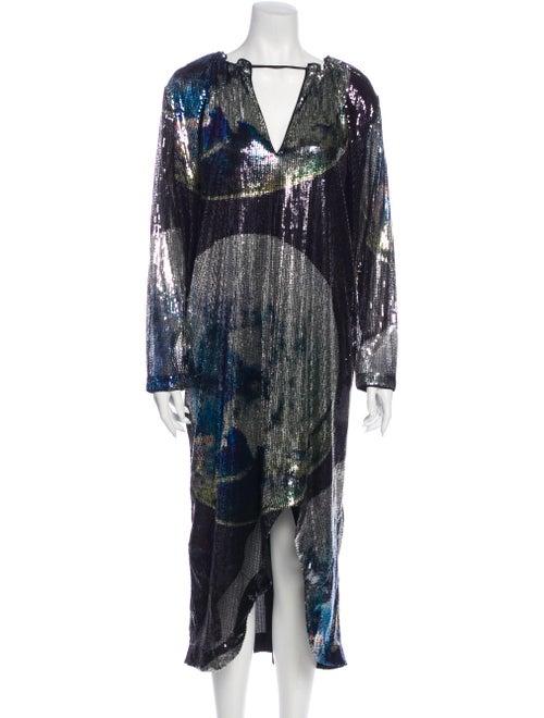Ganni Printed Long Dress w/ Tags Black