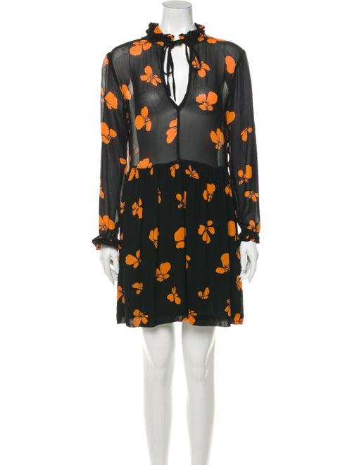 Ganni Floral Print Mini Dress Black