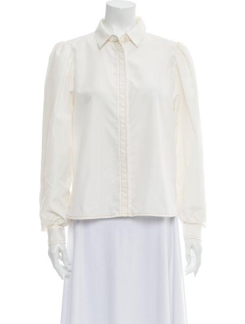 Ganni Long Sleeve Button-Up Top