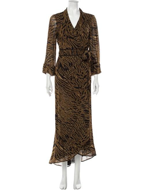 Ganni Animal Print Long Dress Brown