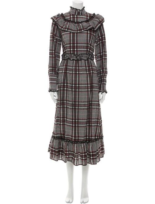 Ganni Plaid Print Long Dress Black