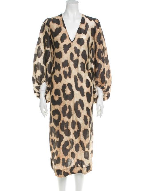 Ganni Animal Print Long Dress